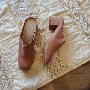 Kenneth Cole Suede Pink Block Heel Mules